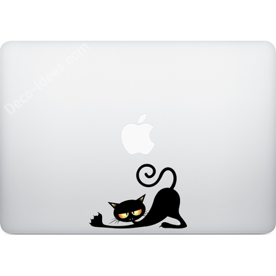 Sticker pour MacBook ou Ipad, Le chat vampire s'etire PM