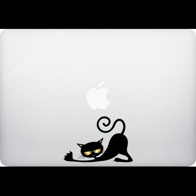 Sticker pour MacBook ou Ipad, Le chat vampire s'etire PM