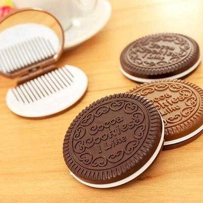 Biscuits-au-chocolat-Miroir-Compact-1-pc-Mignon-Style-Cocca-Cookie-Forme-Petite-Poche-Pliable-Miroir