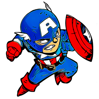 Sticker LITTLE CAPT AMERICA H.15 cm