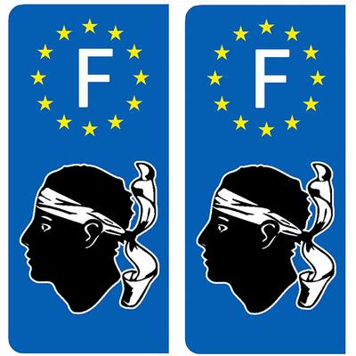 2 stickers pour plaque d'immatriculation pour Auto, LA CORSE