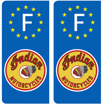 2 stickers pour plaque d'immatriculation, INDIAN MOTORCYLE