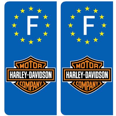 2 stickers pour plaque d'immatriculation AUTO, HARLEY DAVIDSON