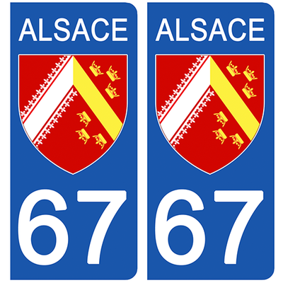 2 stickers pour plaque d'immatriculation pour Auto, 67 ALSACE