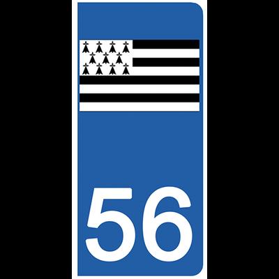 2 stickers pour plaque d'immatriculation pour Auto, 56 Morbihan, Gwenn ha du, drapeau breton