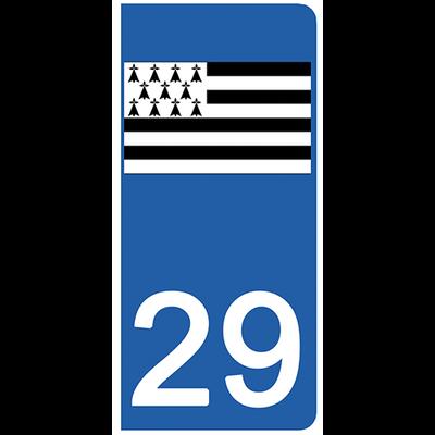 2 stickers pour plaque d'immatriculation pour Auto, 29  Finistère, Gwenn ha du, drapeau breton