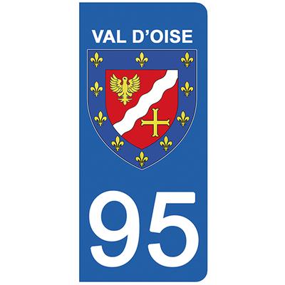 2 stickers pour plaque d'immatriculation pour Auto, 95 blason du Val d'Oise