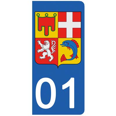 2 stickers pour plaque d'immatriculation pour Auto, 01 AIN