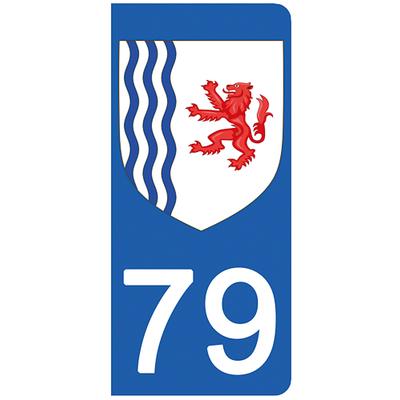 2 stickers pour plaque d'immatriculation pour Auto, 79 Deux Sévres