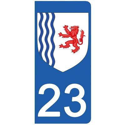 2 stickers pour plaque d'immatriculation pour Auto, 23 Creuse