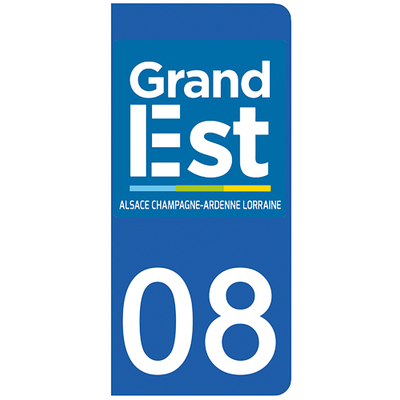 2 stickers pour plaque d'immatriculation pour Auto, 08 Ardennes