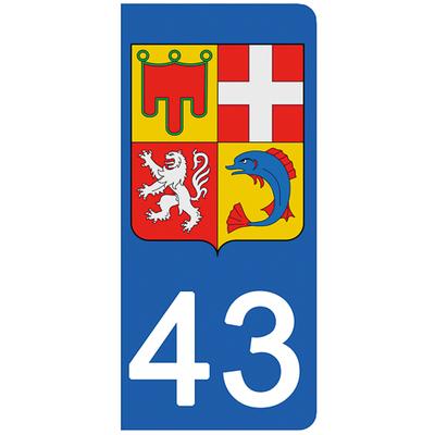 2 stickers pour plaque d'immatriculation pour Auto, 43 Haute-Loire