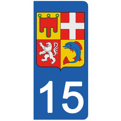 2 stickers pour plaque d'immatriculation pour Auto, 15 Cantal
