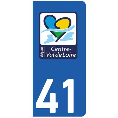 2 stickers pour plaque d'immatriculation pour Auto, 41 Loire et Cher