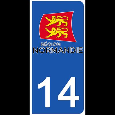 2 stickers pour plaque d'immatriculation pour Auto, 14 Calvados