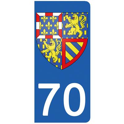 2 stickers pour plaque d'immatriculation pour Auto, 70 Haute Saône