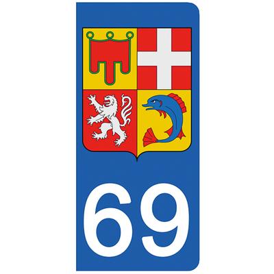 2 stickers pour plaque d'immatriculation pour Auto, 69 Rhône