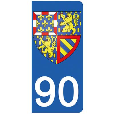 2 stickers pour plaque d'immatriculation pour Auto, 90 Territoire de Belfort - Bourgorgne Franche Comté