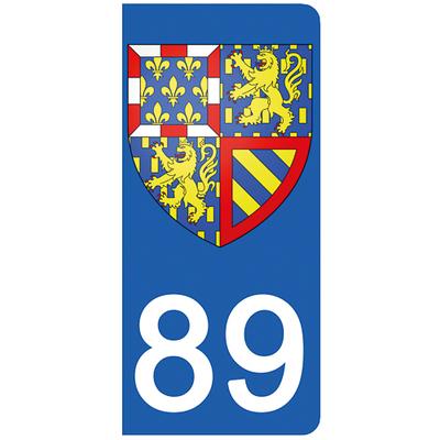 2 stickers pour plaque d'immatriculation pour Auto, 89 Yonne