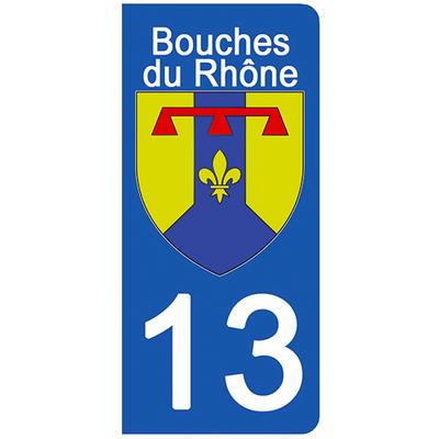 2 stickers pour plaque d'immatriculation pour Auto, 13 blason Bouche du rhône