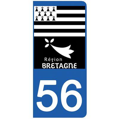 2 stickers pour plaque d'immatriculation pour Auto, 56 Morbihan