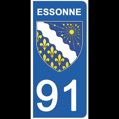 2 stickers pour plaque d'immatriculation pour Auto, 91 blason de l'Essonne