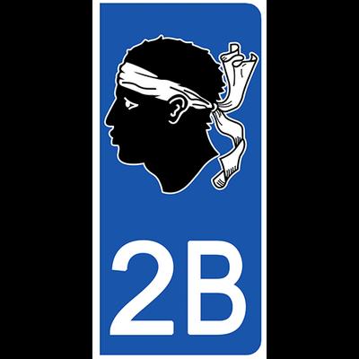 2 stickers pour plaque d'immatriculation pour Auto, 2B corse
