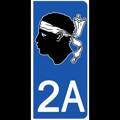 2 stickers pour plaque d'immatriculation pour Auto, 2A Corse