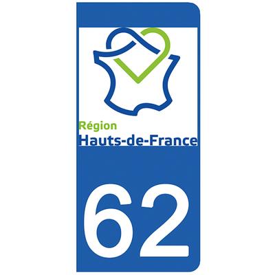 2 stickers pour plaque d'immatriculation pour Auto, 62 Pas de Calais