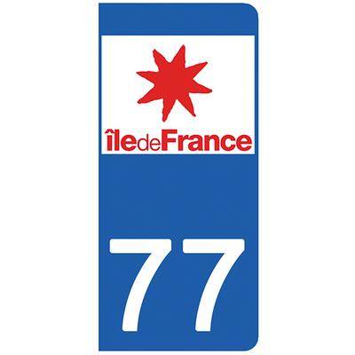 2 stickers pour plaque d'immatriculation pour Auto, 77 Seine et Marne