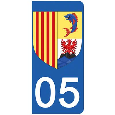 2 stickers pour plaque d'immatriculation pour Auto, 05, Haute Alpes