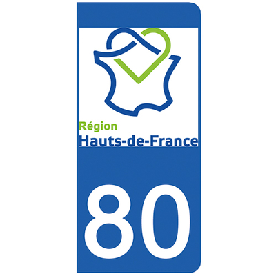 2 stickers pour plaque d'immatriculation pour Auto, 80 Somme
