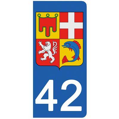 2 stickers pour plaque d'immatriculation pour Auto, 42 Loire
