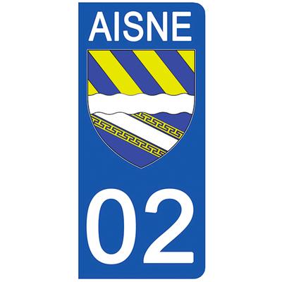 2 stickers pour plaque d'immatriculation pour Auto, 02 Blason de l'Aisne
