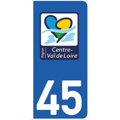 2 stickers pour plaque d'immatriculation pour Auto, 45 Loiret