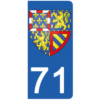 2 stickers pour plaque d'immatriculation pour Auto, 71 Saône et Loire , Bourgogne Franche Comté