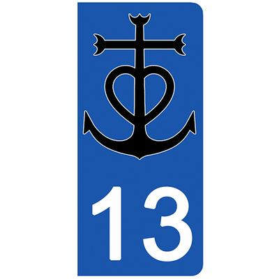 2 stickers pour plaque d'immatriculation pour Auto, 13, Bouche du rhône, Camargue