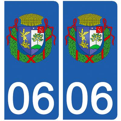 2 stickers pour plaque d'immatriculation pour Auto, 06 Menton