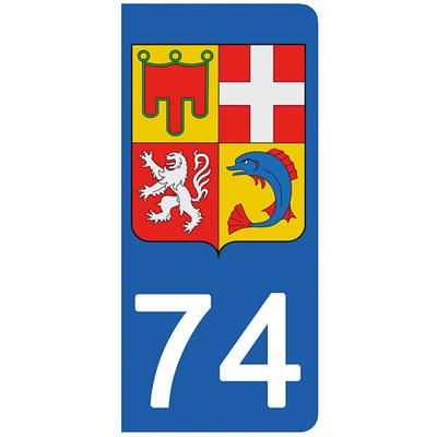 2 stickers pour plaque d'immatriculation pour Auto, 74 Haute-Savoie - Auvergne Rhône-Alpes