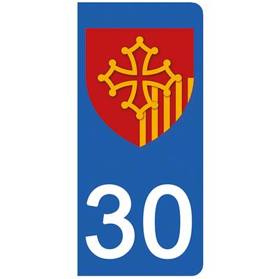 2 stickers pour plaque d'immatriculation pour Auto, 30 Gard