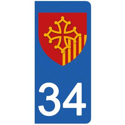 2 stickers pour plaque d'immatriculation pour Auto, 34 Herault
