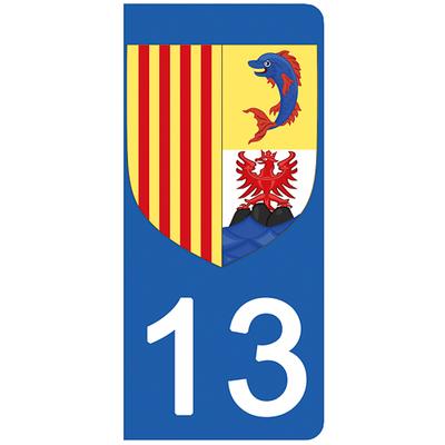 2 stickers pour plaque d'immatriculation pour Auto, 13, Bouche du rhône