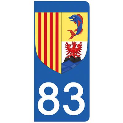 2 stickers pour plaque d'immatriculation pour Auto, 83 Var