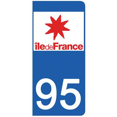 2 stickers pour plaque d'immatriculation pour Auto, 95 Val d'Oise