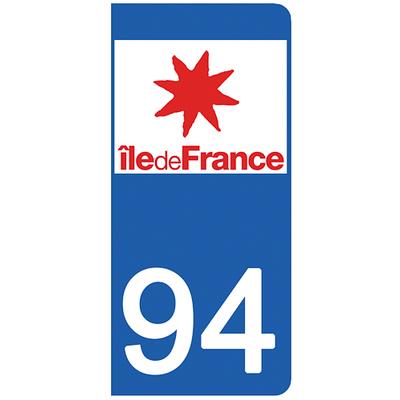2 stickers pour plaque d'immatriculation pour Auto, 94 Val de Marne