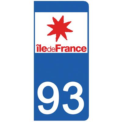 2 stickers pour plaque d'immatriculation pour Auto, 93 Seine Saint Denis