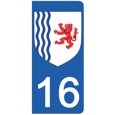 2 stickers pour plaque d'immatriculation pour Auto, 16 Charente