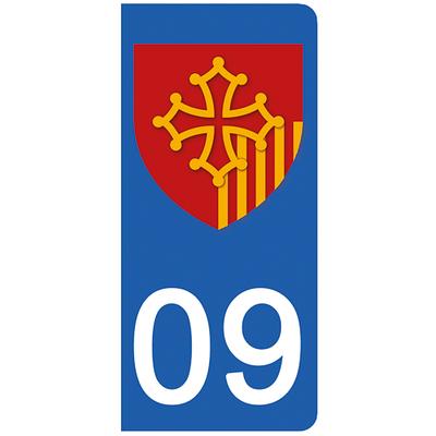 2 stickers pour plaque d'immatriculation pour Auto, 09 Ariége
