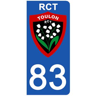 2 stickers pour plaque d'immatriculation pour Auto, 83 Var, RCT TOULON edition limitée 100 ex