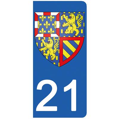 2 stickers pour plaque d'immatriculation pour Auto, 21 Côte d'Or